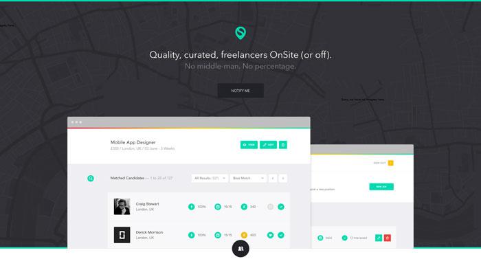 onsite.io Flat Web Design Inspiration