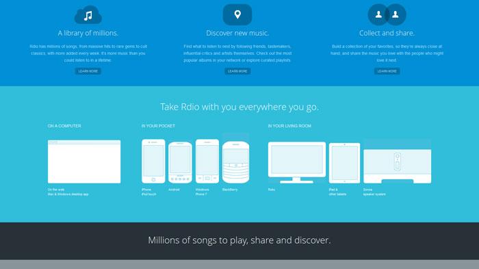 rdio.com Flat Web Design Inspiration