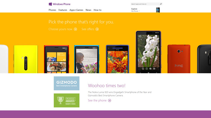windowsphone.com Flat Web Design Inspiration