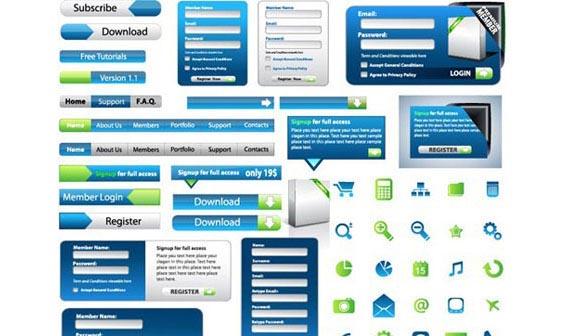 Web Design Elements Vector Set Free Vector Graphics