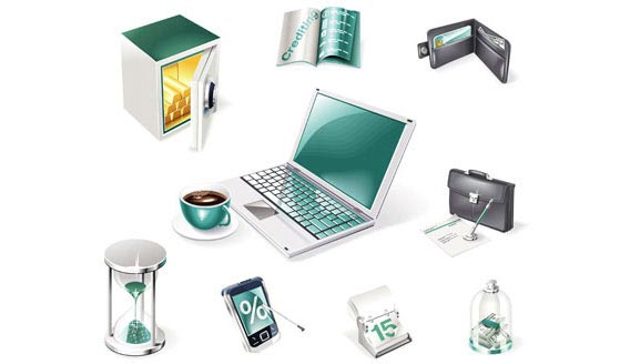 3D Financialand Business Web Icons Free Vector Graphics