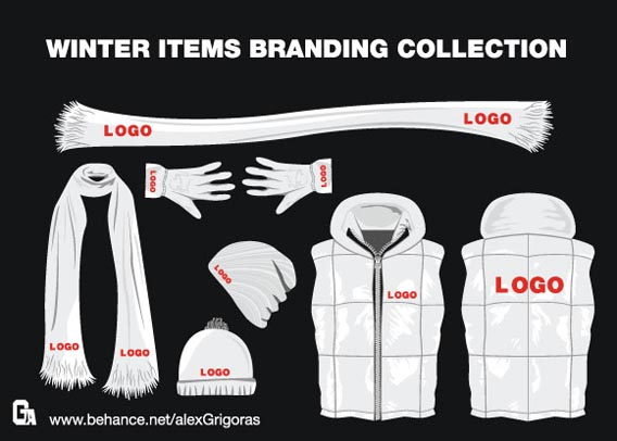 Winter Items Branding Collection Free Vector Graphics
