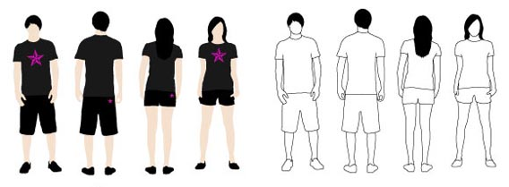 T-Shirt Models 2 Free Vector Graphics