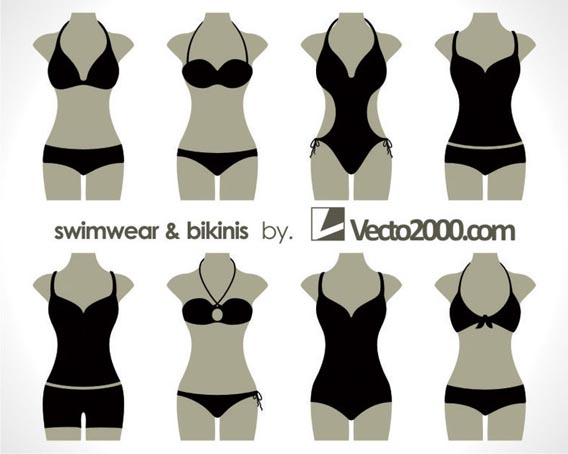 Illustration vector of swimwear and bikinis Free Vector Graphics
