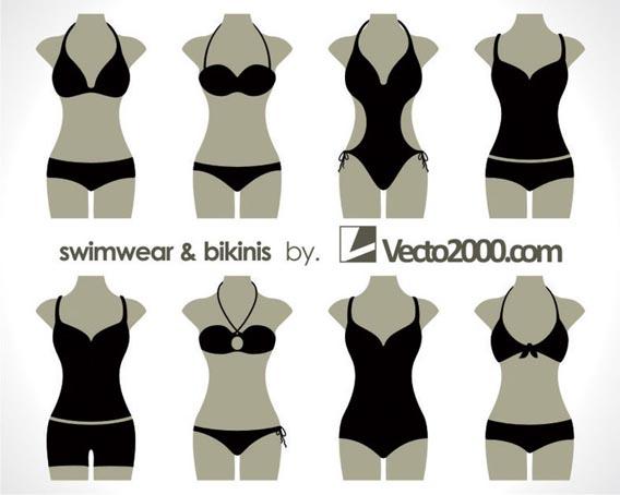 Illustration vector of swimwear and bikinis Free Vector Graphics
