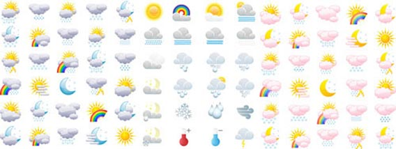 Full Weather Icons Collection Free Vector Graphics