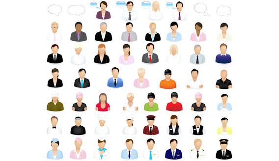 Set of people icons Free Vector Graphics