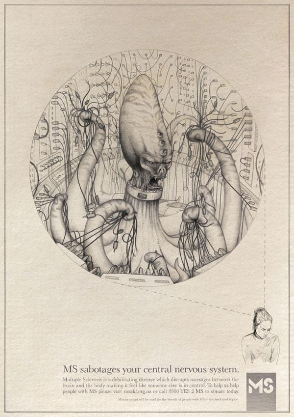 Diseños de propaganda de esclerosis múltiple: su sistema nervioso central Ideas publicitarias: 500 anuncios creativos y geniales