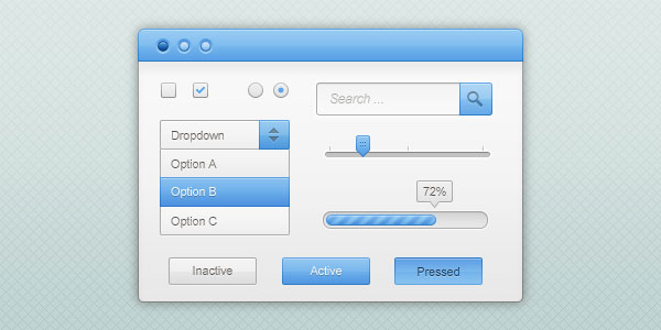 Blue and white GUI Free PSD