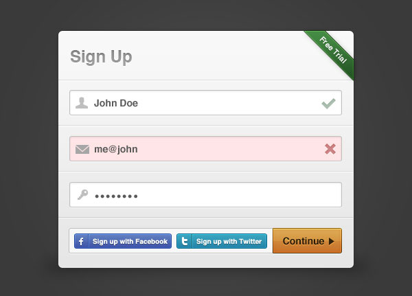 Sign-up Modal Box GUI Free PSD