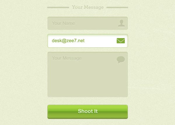 Green Contact Form GUI Free PSD