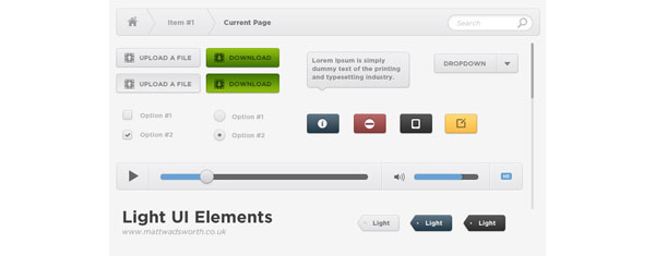 Light UI GUI Free PSD