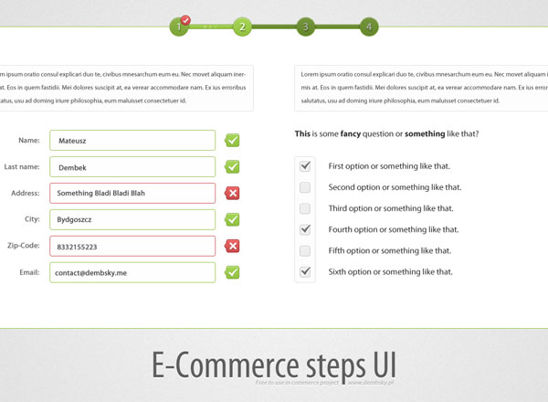 E-Commerce Steps UI GUI Free PSD