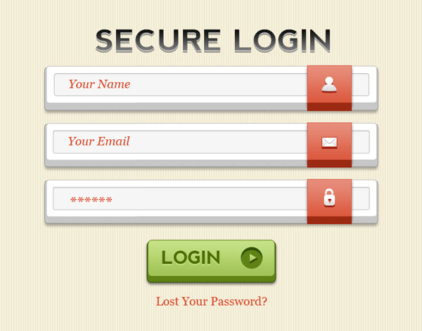 Login form GUI Free PSD