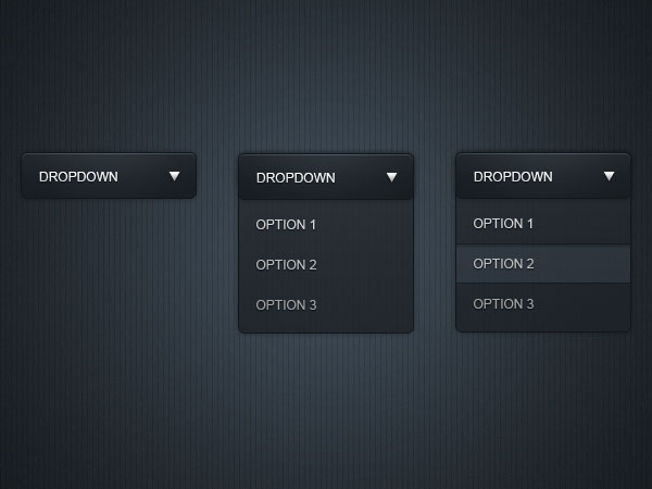 Sleek dropdown menu GUI Free PSD