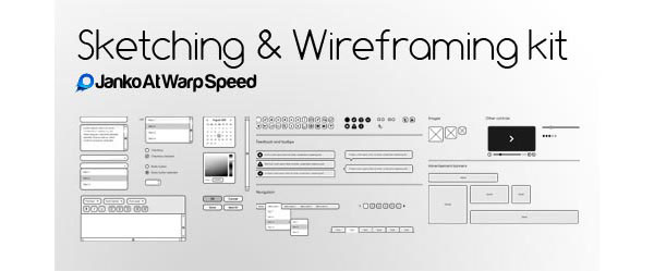 Sketching & Wireframing Kit GUI Free PSD