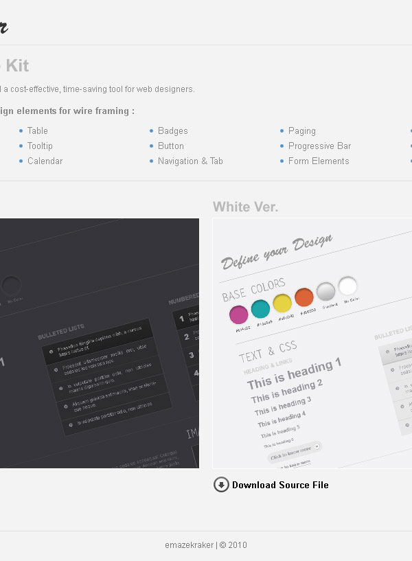 Web wireframe kit GUI Free PSD