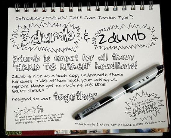 3Dumb Handwriting And Script Font