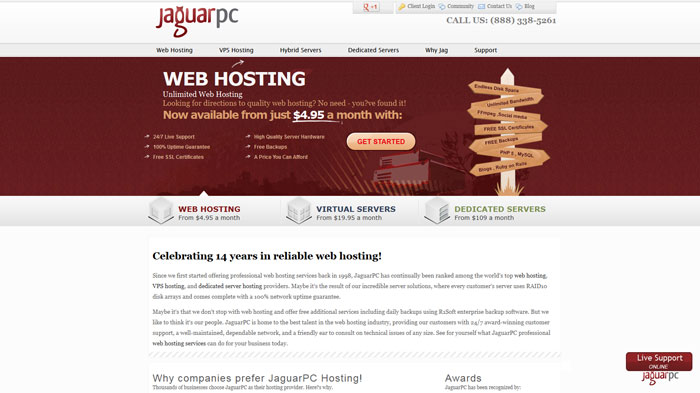 jaguarpc.com Website Hosting Provider