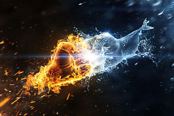 Fire vs. Water Photoshop Design Inspiration