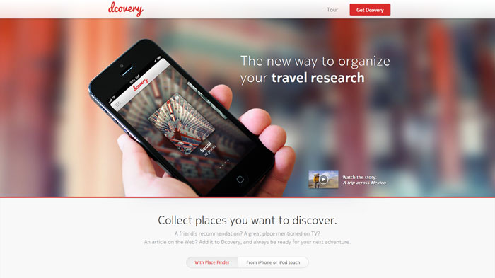 dcovery.com Landing page design