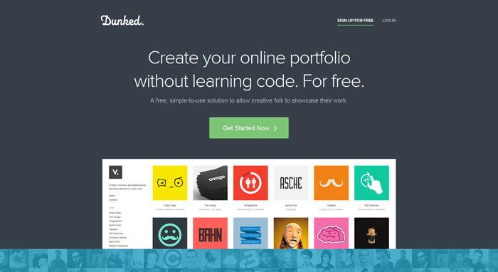 dunked.com Landing page design
