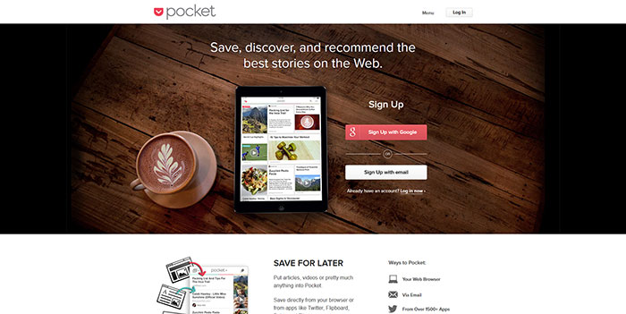 getpocket.com Landing page design