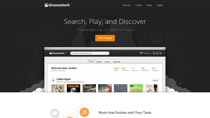 grooveshark.com Landing page design