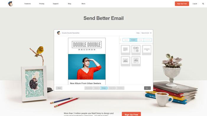 mailchimp.com着陆页面设计