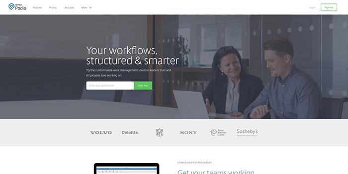 podio.com Landing page design
