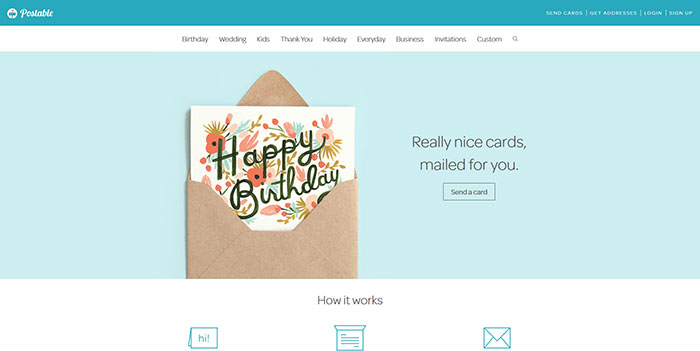 postable.com Landing page design