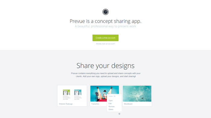 prevue.it Landing page design