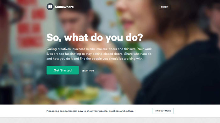somewherehq.com Landing page design