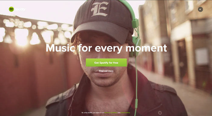 spotify.com Landing page design