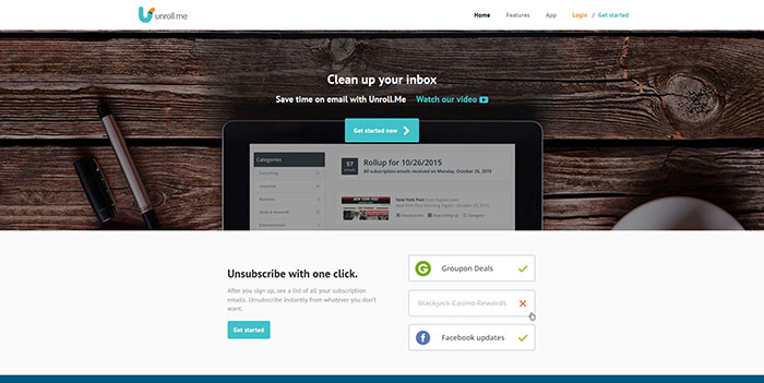 unroll.me Landing page design