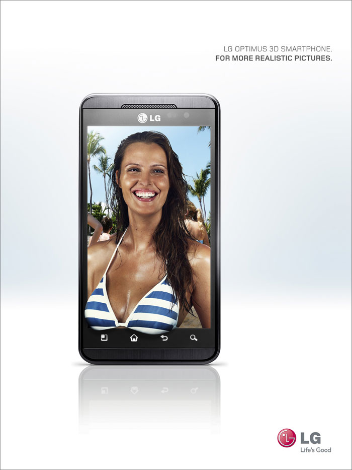 LG Optimus 3D Smartphone. For more realistic pictures Print Advertisement