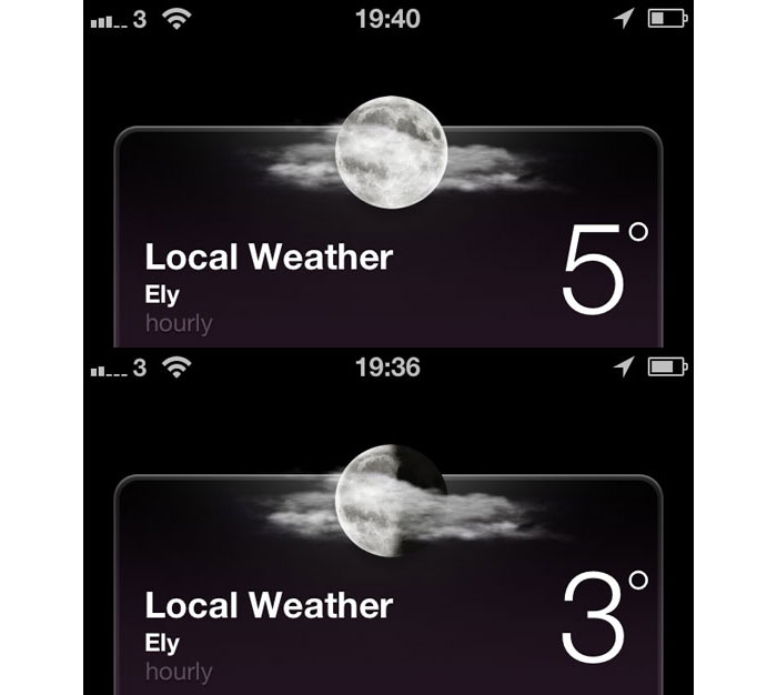 iOS 6 - the night time weather summary shows the correct phase of the moon