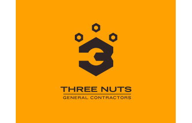 Three Nuts General Contractors Logo Design Inspiration