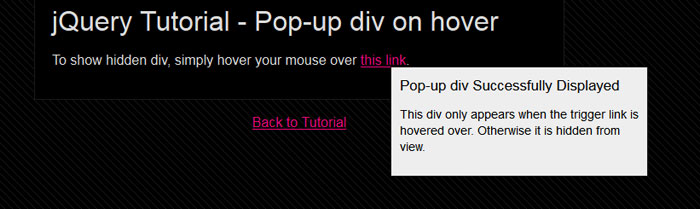 Create a Pop-up div in jQuery
