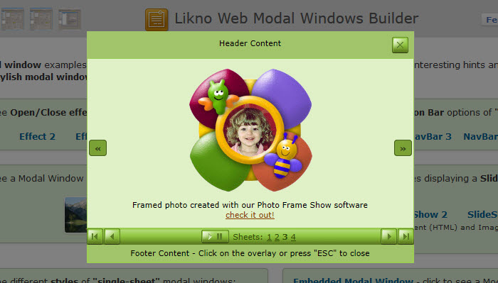 Likno Web Modal Windows Builder