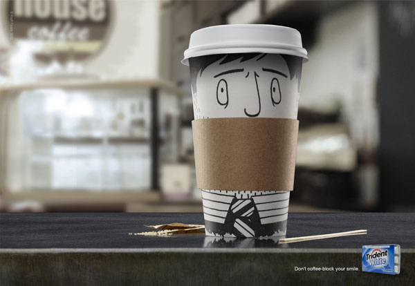 Don't coffee-block your smile Print Advertisement