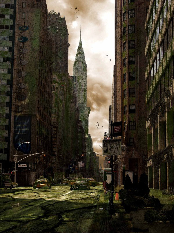 Diserded City Street Photo Manipulation