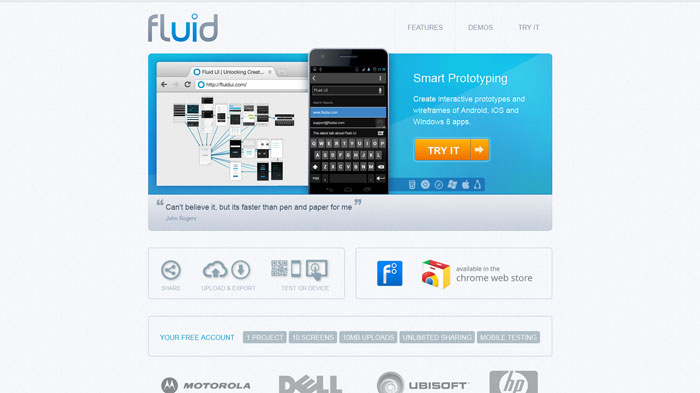 Fluid UI Wireframing and prototyping tool