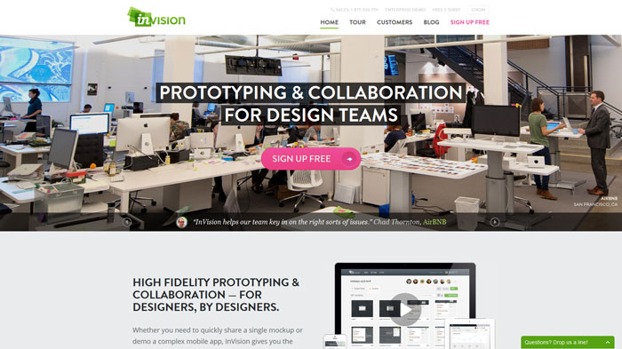 InVision Wireframing and prototyping tool
