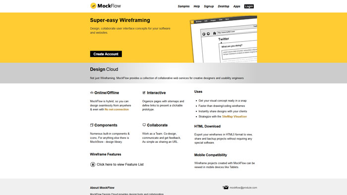 MockFlow Wireframing and prototyping tool