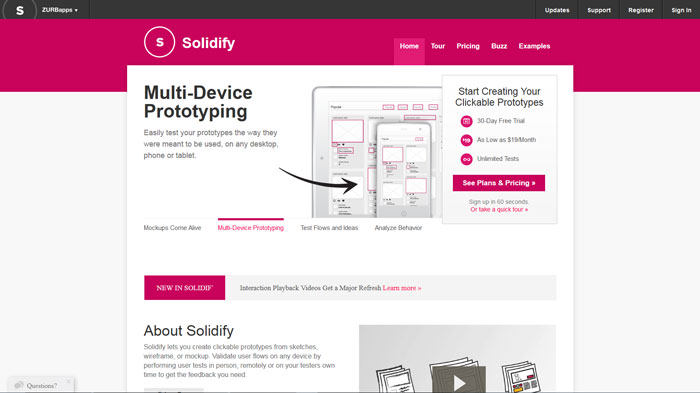 Solidify  Wireframing and prototyping tool