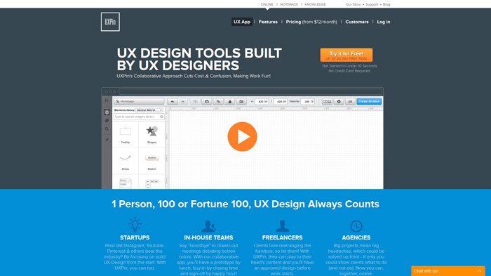 UXPin Wireframing and prototyping tool