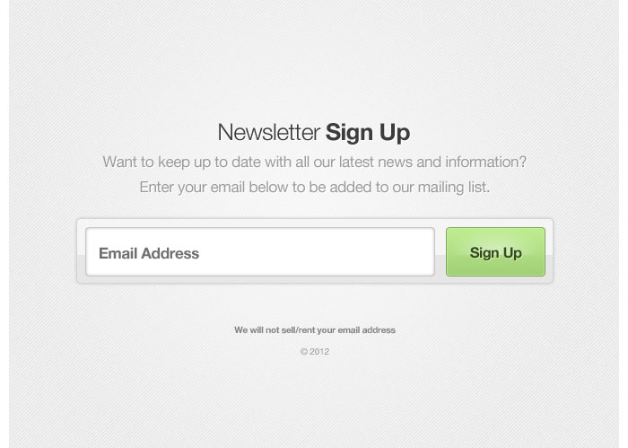 Newsletter Sign Up Form Design for download