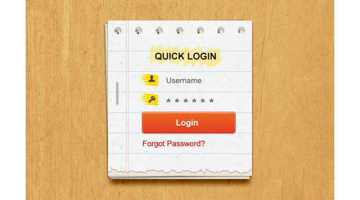 Paper Login Form PSD Design for download