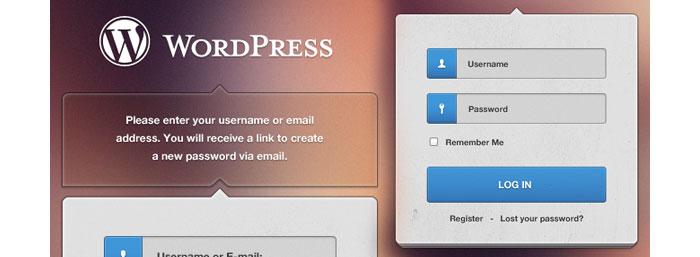 WordPress Login Free PSD Design for download